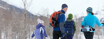 SNOWSHOEING OR CROSS-COUNTRY SKIING. Our expert instructors will show you how easy and fun these winter sports can be. Conditions permitting.