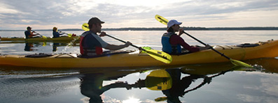 TANDEM SEA KAYAK TOUR. Join our friendly guides for a relaxing paddle in stable tandem kayaks on the waters of scenic Casco Bay.
