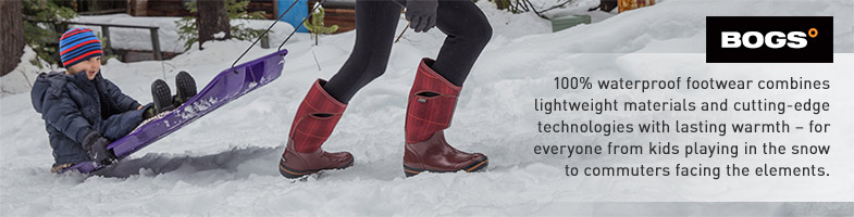 Bogs. 100% waterproof footwear combines lightweight materials and cutting-edge technologies with lasting warmth - for everyone from kids playing in the snow to commuters facing the elements.