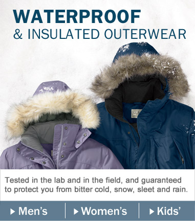 Waterproof & Insulated Outerwear. Tested in the lab and in the field and guaranteed to protect you from bitter cold, snow, sleet and rain.