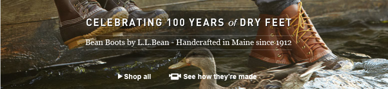 Celebrating 100 Years of Dry Feet. Bean Boots by L.L.Bean-Handcrafted in Maine since 1912.