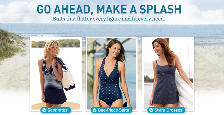Women's Swimwear.  Shop by Style. Separates. One-Piece Suits. Swim Dresses
