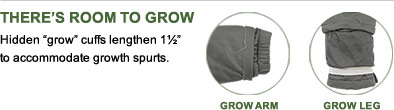 Theres Room to Grow. Hidden grow cuffs lengthen 1½ to accommodate growth spurts.