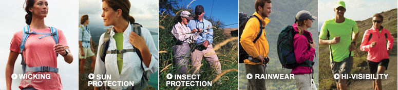 Wicking. Sun Protection. Insect Protection. Rainwear. Hi-Visibility