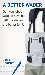 Making a Better Wader. Our Kennebec Waders have no belt buckle, and are better for it.