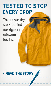 Tested to Stop Every Drop. The (never dry) story behind our rigorous rainwear testing.