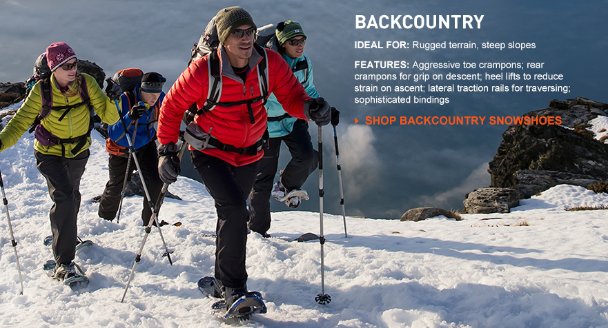 Backcountry. Ideal For: Rugged terrain, steep slopes. Features: Aggressive toe crampons; rear crampons for grip on descent; heel lifts to reduce strain on ascent; lateral traction rails for traversing; sophisticated bindings.