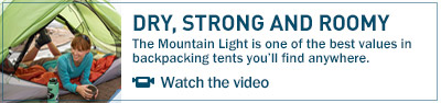 The Mountain Light is one of the best values in backpacking tents you'll find anywhere.