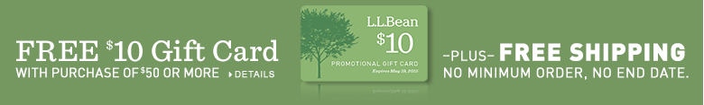 FREE $10 gift card with purchase of $50 or more, plus, FREE shipping, no minimum order, no end date.