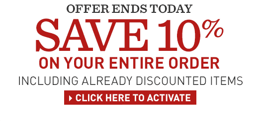 Save 10% on your entire order. Including already discounted items. Offer ends Tuesday, May 26 – enter promo code SUMMER.