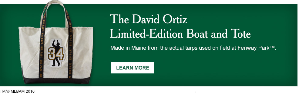 The David Ortiz Limited-Edition Boat and Tote. Made in Maine from the actual tarps used on field at Fenway Pary™.