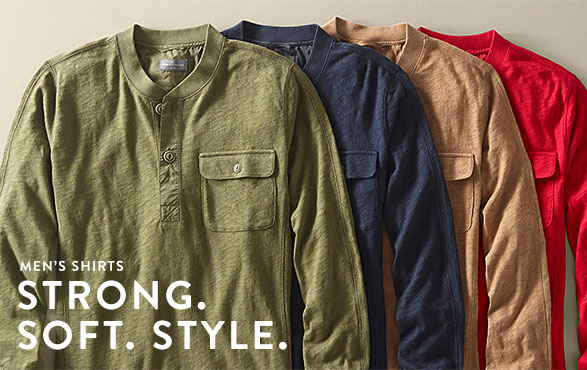 Men's Shirts. Strong. Soft. Style.