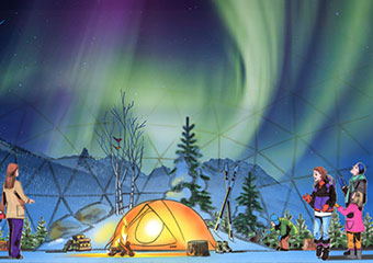 Geodesic dome with projected Aurora Borealis lights.