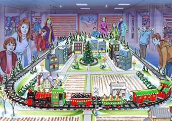 Model trail village in the L.L.Bean Kids' Department.