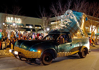 The L.L.Bean Bootmobile in Freeport's Parade of Lights
