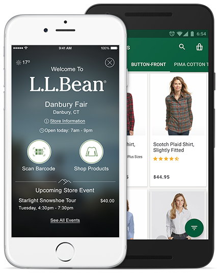 Tap. Shop. Discover. Hundreds of products. Thousands of reviews. Introducing the L.L.Bean App. Our easiest shopping experience yet. Quick shopping. Scan barcodes for instant access to product details. See your purchase history. Track orders. Look up coupons. L.L.Bean Store Locator. Reserve L.L.Bean Outdoor Discovery Schools classes. The L.L.Bean App. Free in the Apple App Store