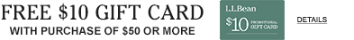 Free $10 gift card with purchase of $50 or more.