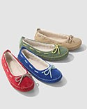 Four colorful slipper styles.