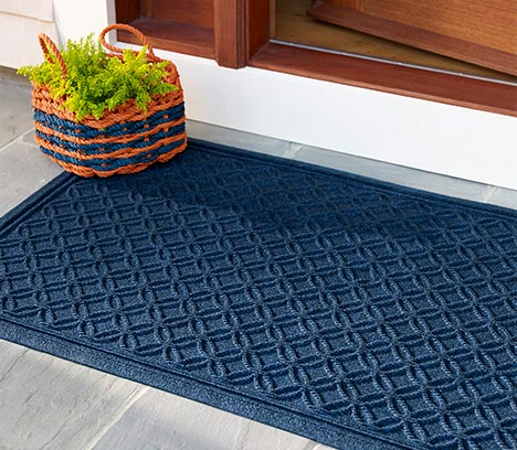 Blue Waterhog Mat in front of door.