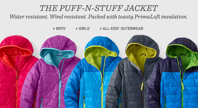 The Puff-N-Stuff Jacket. Water resistant. Wind resistant. Packed with toasty PrimaLoft insulation.