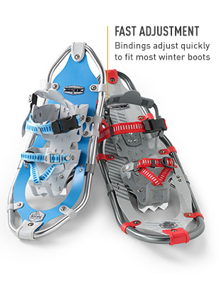 Fast adjustment: Bindings adjust quickly to fit most winter boots.