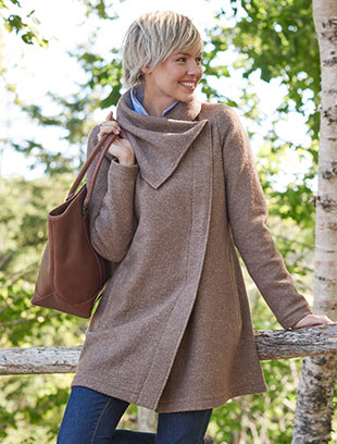 Woman in coveside wool coat.