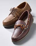 A leather moccasin and boat shoe.