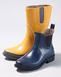 Two colorful wellie-style rain boots