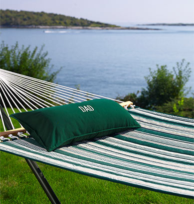 Hammock with pillow hanging on lawn by the ocean.