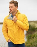 Man in yellow rain jacket.