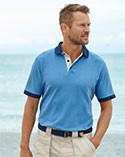 Man in blue polo shirt.