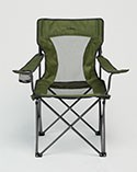 Unpacked standing green camp chair.