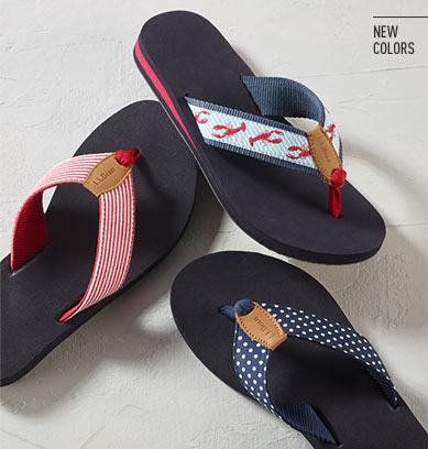 A variety of Maine Isle Flip-Flops in new colors.