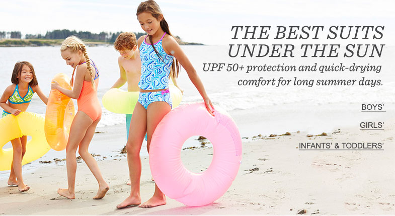 THE BEST SUITS UNDER THE SUN . UPF 50+ protection and quick-drying comfort for long summer days.