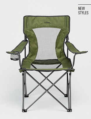 Lightweight green camping chair.