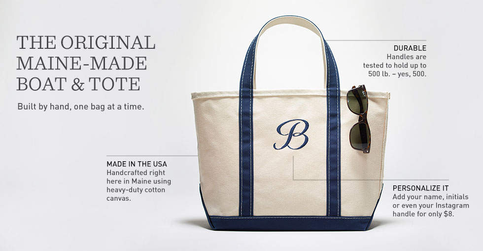Monogrammed Boat and Tote Bag with sunglasses hanging on the side.