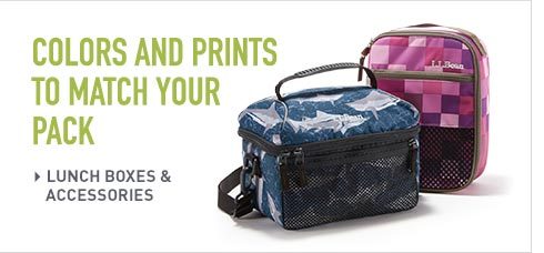 Lunch boxes in colors and prints to match your pack.