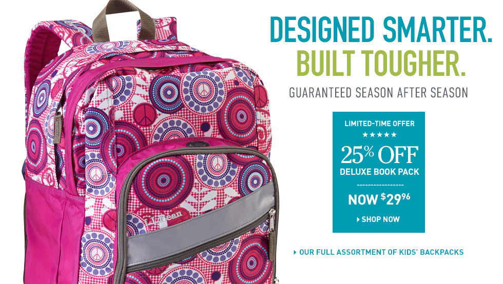 Large Deluxe backpack with cool pattern is showcasing the variety of different back pack styles. There is an offer for 25% off Deluxe Book Pack.