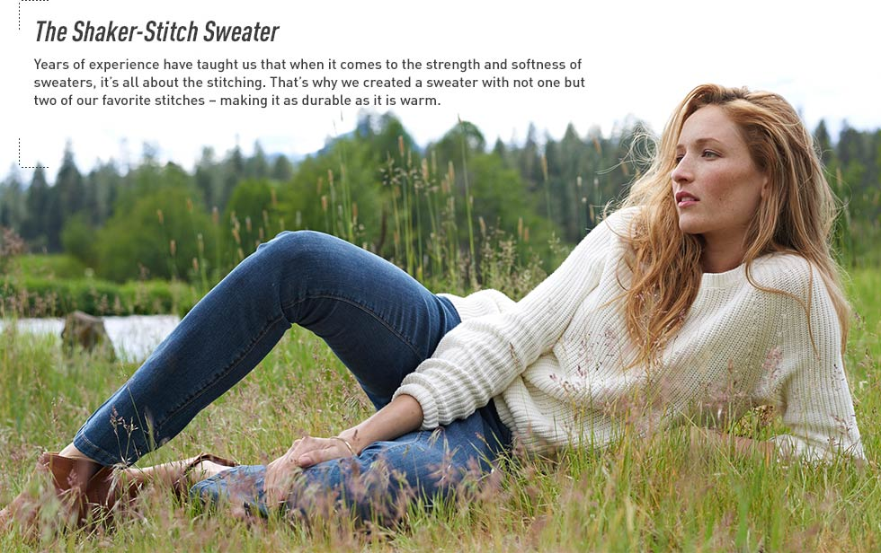 Shaker-Stitch Sweater. The mix of classic shaker and jersey stitches combine for a luxuriously soft and warm sweater.