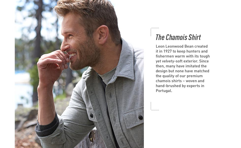 Chamois Shirt. Woven and hand-brushed by experts in Portugal. Tough yet velvety soft.