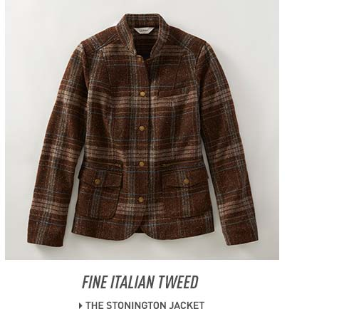 Fine Italian Tweed. The Stonington Jacket in chocolate brown plaid.