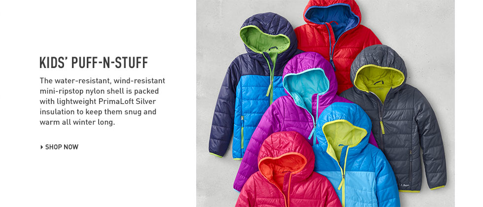Kids' Puff-N-Stuff. Water- and wind-resistant shell is packed with lightweight PrimaLoft Silver insulation to keep them warm.