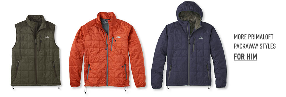 More PrimaLoft Packaway styles for Him.