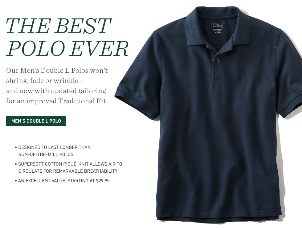 Men's Double L Polos won't shrink, fade or winkle. Improved Traditional Fit. Starting at $29.95.