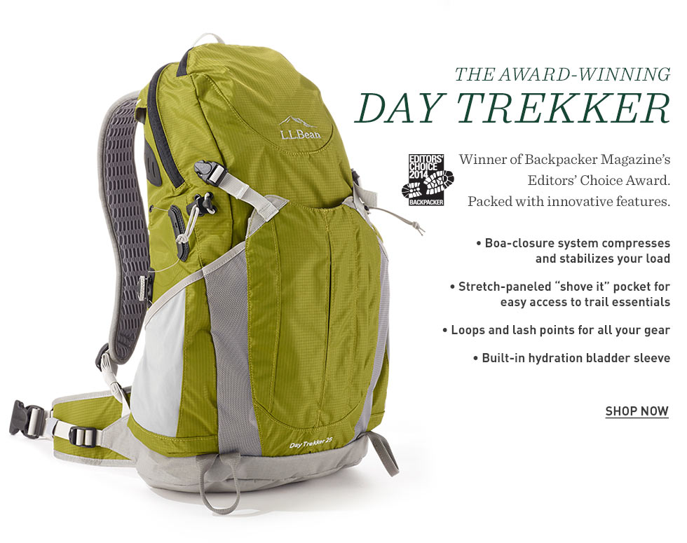 The award-winning Day Trekker. Winner of Backpacker magazine's Editors' Choice Award. Packed with innovative features.