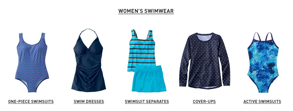 Women's swimwear. One-piece swimsuits. Swim dresses. Swimsuit separates. Cover-ups. Active swimsuits.