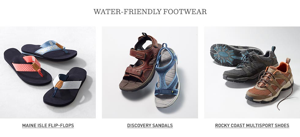 Water-friendly footwear.