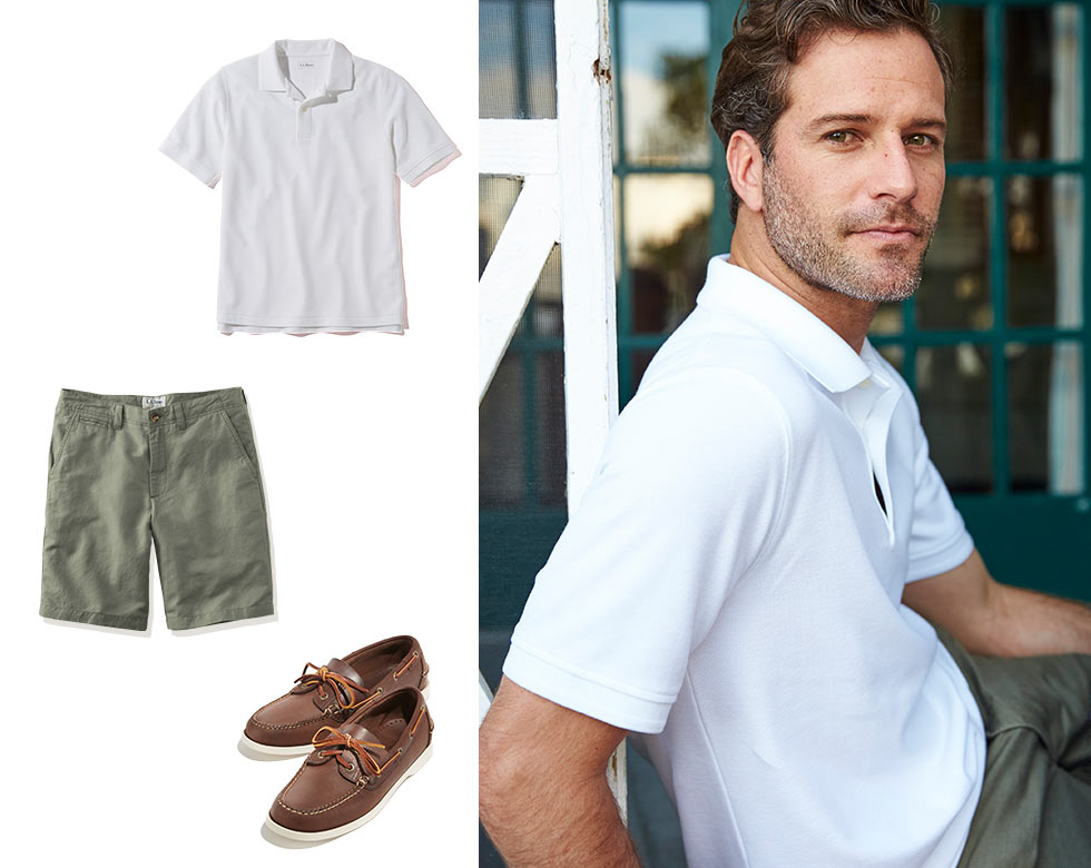 Man wearing Double L Polo, Linen Cotton Shorts and Casco Bay Boat Shoes.