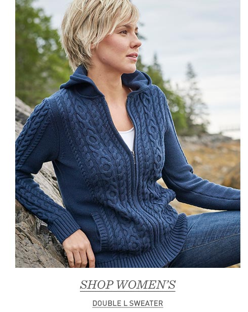 Woman in blue Double L Sweater.