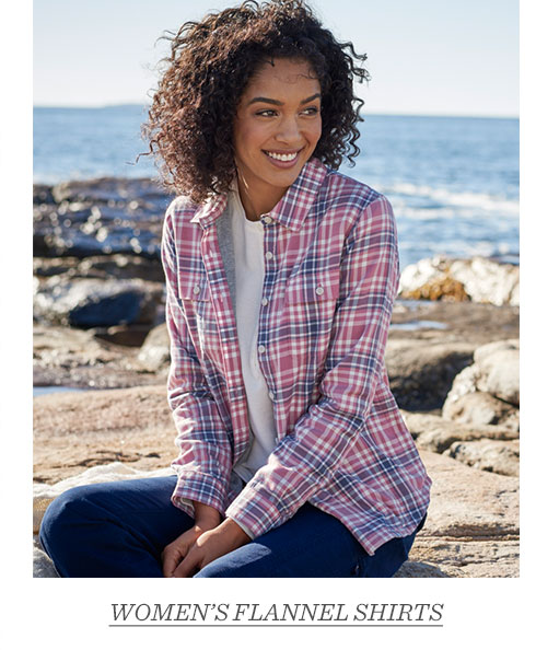 Woman in checked flannel button-front shirt.